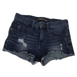 Express distressed cut off jean shorts